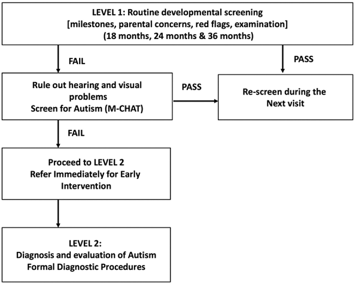 Figure 4: Screening for autism - Flowchart depicting the approach to a child during routine immunization visits (Adapted from practice parameter: Screening and diagnosis of autism. Neurology 2000;55:468-79).