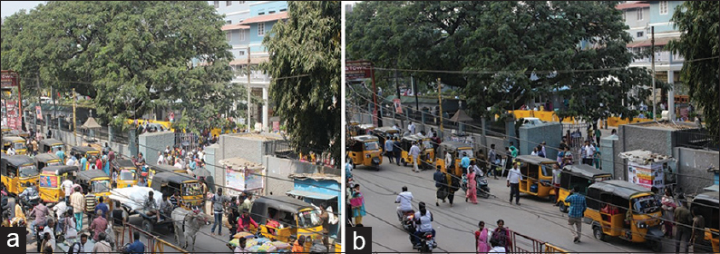 "Figure 1: The flow of traffic at 9 am (a) in front of Christian Medical College, Vellore hospital, resembles ""traffic jam in the narrow lanes"" in liver sinusoids/lung capillaries in secondary hemophagocytic lymphohistiocytosis while (b) normal traffic flow at 5 pm. In health, the lumen of lung capillaries and of liver sinusoids should contain 50% of blood cells and 50% of plasma; in secondary hemophagocytic lymphohistiocytosis, the lumen is drastically narrowed by hyperinflammation and leads to reduced organ perfusion and organ failure. Credits: Dr. Kirti Anna Koikkara."